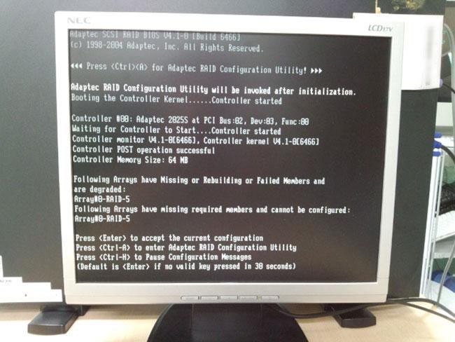 日立アドバンストサーバ HA8000/70PD 起動時のエラー